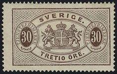 Sweden Official stamps. Sweden, Official Facit Tj8 *, 1874 30 öre brown, perf 14. Mycket fräscht ex. F 3400
