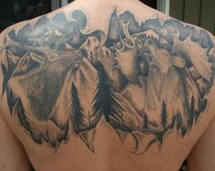 Mountain tattoos | ... mountain background inked along the upper back in this hunting tattoo
