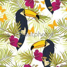 Бесшовный паттерн с туканы, тропические цветы, palm листья и бабочки - Векторная картинка: 77521410