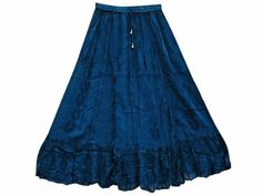 Amazon.com: Womens Skirt Royal Blue Flared Rayon Embroidered Boho Gypsy Maxi Skirt: Clothing #Maxi Skirt #Hippie Skirt #Gypsy Skirt #Long Skirt #Mogulinterior.com