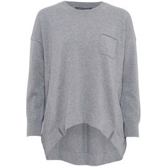 French Connection Clacton Vhari Jumper , Mid Grey Melange (£35) ❤ liked on Polyvore featuring tops, sweaters, mid grey melange, drop shoulder sweater, grey sweater, print sweater, slouch sweater and long sleeve jumper