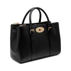 Bayswater Double Zip Tote in Black Shiny Goat | Women | Mulberry