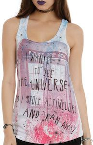 "This women's tank top shows the Tardis from Doctor Who and the text ""I wanted to see the universe so I stole a Time Lord and ran away""."