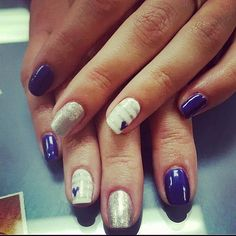 Purple and stripes and hearts nail art done by the girls at @SimpleSolitude in Vancouver, WA!