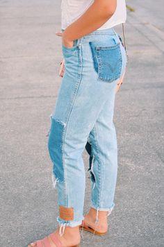 alorajustesen.com, patch work denim, kate spade, denim, embellished top, high waisted pants, levi
