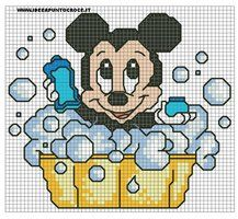 Schema baby minnie bagnetto by on deviantart minnie mouse (and mic Easy Cross Stitch Patterns, Cross Stitch For Kids, Simple Cross Stitch, Cross Stitch Baby, Cross Stitch Designs, Disney Babys, Baby Disney, Cross Stitching, Cross Stitch Embroidery