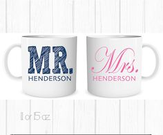Hey, I found this really awesome Etsy listing at https://www.etsy.com/listing/202454062/mr-and-mrs-matching-wedding-mugs-custom
