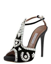 Tabitha Simmons Mayfair Button-Covered T-Strap Sandal