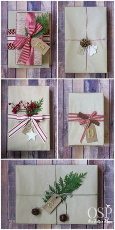 Christmas Gift Wrapping Ideas including kraft paper, twine and ribbon. All Things Christmas, Christmas Holidays, Christmas Crafts, Christmas Decorations, Simple Christmas, Christmas Gift Wrapping, Christmas Presents, Holiday Gifts, Creative Gift Wrapping