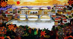 An Artist's rendition of Ponte Vechio, one of the most beautiful bridges in the world