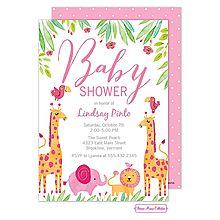 338 best girl shower invitations images on pinterest in 2018 baby baby safari pink baby shower invitation for baby girl animal jungle themed filmwisefo