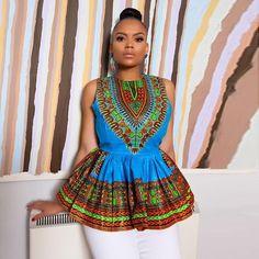African Print Sleeveless Elegant Ruffle Blouse - All About African Attire, African Wear, African Dress, African Clothes, African Tops, African Women, African Print Peplum Top, Afro, Mode Wax