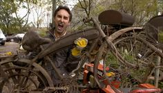 American Pickers' Mike Wolfe and vintage bicycles Old Bicycle, Old Bikes, Vintage Bicycles, Vintage Motorcycles, Antique Bicycles, American Pickers, History Channel, Love Affair, Antiques