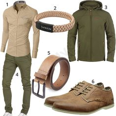 Fancy spring outfit for men with beige Moderno shirt, Tatrium leather strap, Jack & Woods leather belt, Mustang lace-up shoes, green Indicode transition jacket and Amaci & Sons Chino. 1. Shirt► amzn.to/2Ce8HlK 2. Bracelet► amzn.to/2Ca9VhV 3. Jacket► amzn.to/2CzPiYk (-23%) 4. Trousers► amzn.to/2ofdquO 5. Belt► amzn.to/2og5vxu 6. Shoes► amzn.to/2CcQ4yQ #MensFashionMenswear