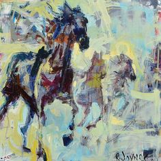 Large modern abstract horse painting depicting several horses running wild and free. Created with energetic brushwork and a warm palette of reds
