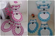 Crochet Owl Bathroom Set with Free Pattern is so beautiful. This set contains 4 crochet pieces, two crochet rugs to the floor, and two for the toilet.