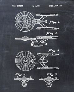 USS Enterprise Constitution Class Starship Star Trek Patent Print