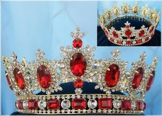 Men's Unisex Rhinestone Gold full Ruby Red Royal Premium Crown Elegant and regal fully round crown fit for a king or queen. This is the best crown to wear to a homecoming event, parade or carnival. Ma