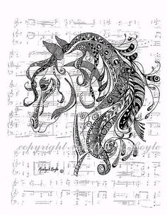 HORSE - ENHANCED PRINT; Zentangle, doodle, domestic animal, nature, wall art, 8.5 x 11 inches, musical score.
