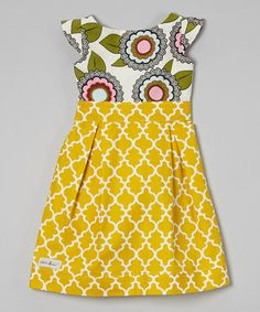 Yellow & White Floral A-Line Dress