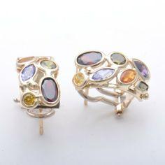 14k Yellow Gold Italy Natural Stone Rainbow Earring Jenny Song. $520.00. 14K Gold  Italian Earring. 14K Yellow fancy Color stones Earring. 14K Yellow Gold Fancy Earring. 14K Gold earring  made in Italy