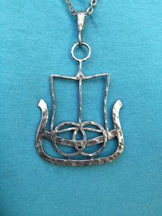 Vintage Modernist Troll Pewter Ship Pendant Necklace c1965-1970.