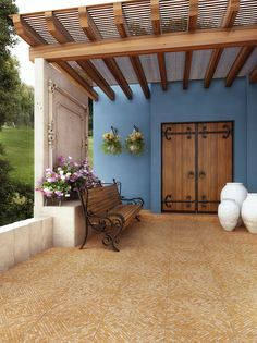 43 Ideas for exterior doors patio terraces Patio Roof, Pergola Patio, Backyard, Spanish House, Spanish Style, Mexico House, Patio Flooring, Hacienda Style, Outdoor Living