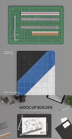 Get more choice for the mock up builder, with this set of rulers and cutting mat. The cutting mat color is completely editable, so that you can create your own. The cutting mat is available in horizontal and vertical position for more realism. You can move all objects at will. Add them in the scene and make your own header or even your stationery mock up.