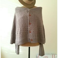 Anthropologie Sleeping on Snow Knit Poncho Cape Adorable Knit Cape with attached cardigan with sleeves underneath.   Very cozy and beautiful.  Size Medium.   Wool and Nylon. Anthropologie Sweaters Shrugs & Ponchos