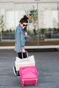 suitcase | weekender tote | top | leggings | jacket | similar sneakers |  sunnies | snakeskin bag Bear's shirt | pants | shoes  photos by RaeTay Photography   I can't be the only one who misses the good old days when checking a bag at  the airport