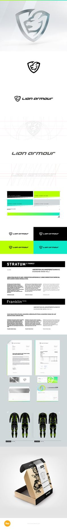 Comprehensive branding project created for start-up clothing company Lion Armour, producer of high quality thermo-active underwear.