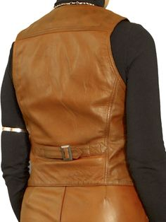 Womens Tan Luxury Leather Waistcoat with back buckle belt. Made in finest soft semi-aniline lambskin nappa leather. Also in black and cherry red, and with matching pencil skirt.