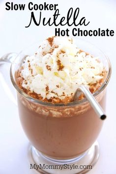 Slow Cooker Nutella Hot Chocolate, drink recipe, fall recipe, mymommystyle.com