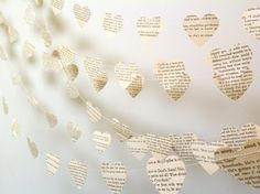 Back in Store Vintage Paper Hearts Garland Weddings Photo Prop by MaisyandAlice