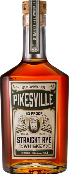 In the glass, this rye whiskey is pale copper, with aromas of dusty cocoa and oaky smoke. The palate is dry and spicy with honeyed rye and cloves, with a finish of soft vanilla and baking spices. Pikesville Straight Rye Whiskey is one of those spirits tha Best Rye Whiskey, Scotch Whiskey, Bourbon Whiskey, Whiskey Trail, Whiskey Girl, Bourbon Cocktails, Whiskey Glasses, Whiskey Bottle, Whiskey Decanter