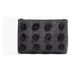 MADEWELL Raffia Pom-Pom Zip Pouch ($38) ❤ liked on Polyvore featuring bags, handbags, clutches, black straw, pom pom handbag, zipper handbags, zipper purse, zip pouch and madewell purses