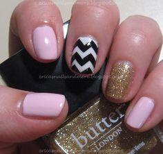 Pretty shevron nails #nails #design #designs #gold #pink #shevron #pretty #cool