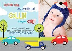 25 off  CARS and trucks BIRTHDAY invitation any age  by uniquewv, $7.88