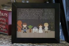 Welcome sign at a Star Wars birthday party! See more party planning ideas at CatchMyParty.com!