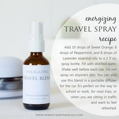 Great, refreshing travel spray recipe for in the car or when traveling. Use organic essential oils from Veriditas Botanicals. Free printable label on the blog.