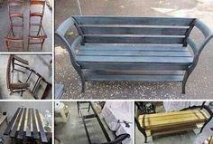 Bankje gemaakt van twee oude stoelen.