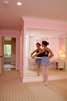 Ballet Bar Kids Design Ideas, Pictures, Remodel and Decor Room Ideas Bedroom, Girls Bedroom, Bedrooms, Room Decor, Home Dance Studio, Dance Mirrors, Wall Mirrors, Ballerina Bedroom, Dance Rooms