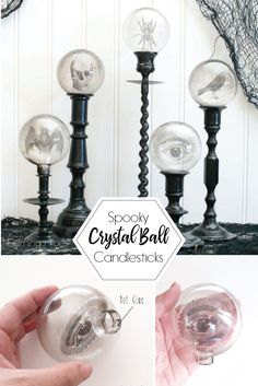 Diy halloween decorations 106538347421075231 - Spooky Crystal Ball Halloween Candlesticks – Flamingo Toes Source by waggytail Casa Halloween, Halloween Candles, Halloween Home Decor, Halloween Party Decor, Holidays Halloween, Gothic Halloween Decorations, Spooky Halloween Crafts, Halloween Bedroom, Halloween Labels