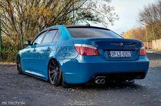 BMW E60 5 series blue slammed