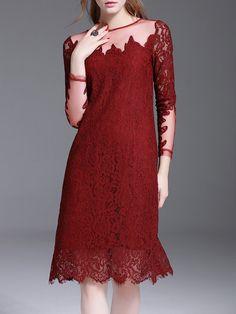 #AdoreWe #StyleWe Dresses - KK2 Long Sleeve Crocheted Elegant Crew Neck Midi Dress - AdoreWe.net