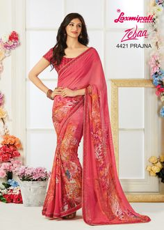 Get the ultimate ethnic look by draping this pretty saree that will emblazon your feminine look even further. Made to complement you in every way, this piece is a complete masterpiece. Get it now! Laxmipati Sarees, Ethnic Looks, Dubai Fashion, Draping, Daily Wear, Bridal Collection, Casual Wear, Catalog, Print Design