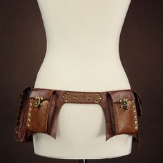 Restyle Brown Faux Leather Unisex Rivet Latch Steampunk Utility Pocket Belt   eBay