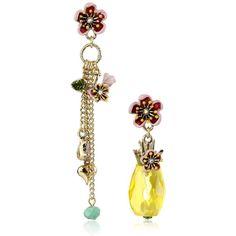 """Betsey Johnson """"Tutti Frutti"""" Pineapple Mismatch Drop Earrings ($29) ❤ liked on…"""
