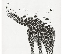 contrast- contrast is shown in this image by the giraffe. the giraffe is shown bye the shapes or dots in the white space. the giraffe is not fully there but you can see what the image is.