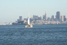 Sailing from Belvedere to San Francisco - Gorgeous view of the San Francisco skyline. Belvedere, Marin County, CA
